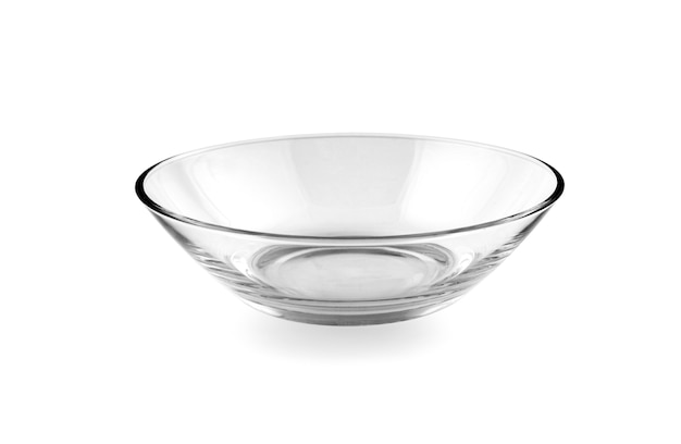 白で隔離のガラスのボウル