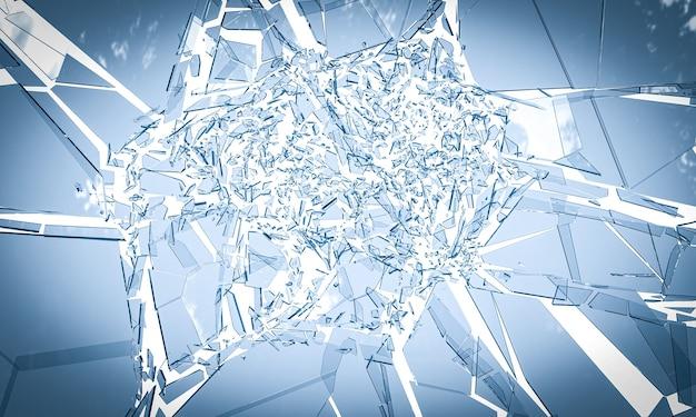 白い背景にガラスが割れる。 3dレンダリング