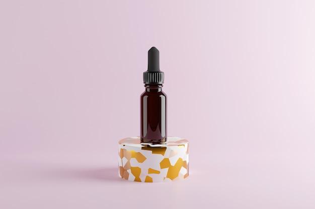 Стеклянная коричневая бутылка с эфирными маслами и капельницей. 3d визуализация. макет . 3d иллюстрации высокого качества