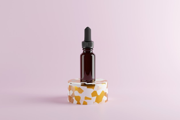 Glass brown bottle with essential oils and dropper. 3d render. mock up . high quality 3d illustration