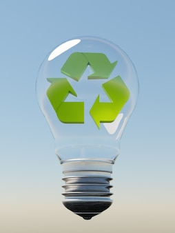 Glass bulb suspended in the air with a blue sky in the background and a green recycling symbol inside it. 3d render
