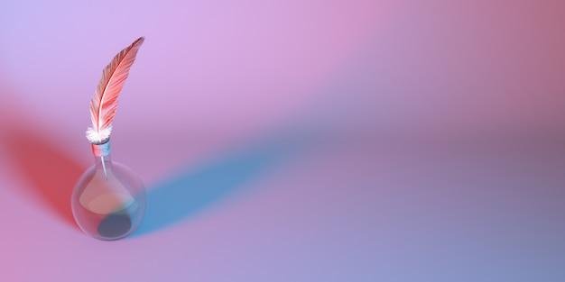 네온 불빛에 깃털 유리 전구를 닫습니다.