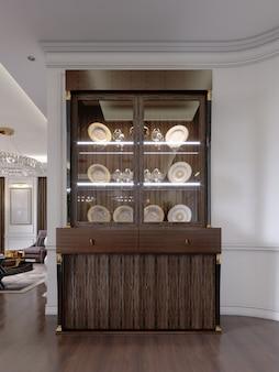 棚に食器を置き、リビングルームにモダンクラシックなスタイルの照明を備えたガラスキャビネット。 3dレンダリング。