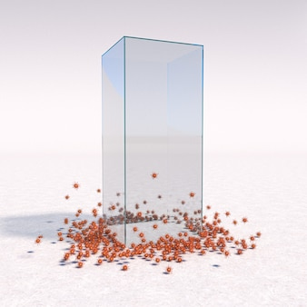 Glass cage as covid 19 virus protection. 3d render