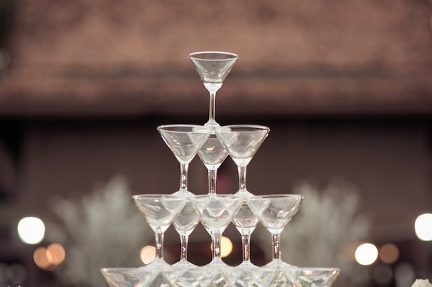 Glass of champagne for event party or wedding ceremony