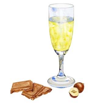 Glass of champagne with chocolate and hazelnuts