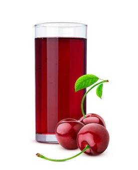 Glass of cherry juice and fresh berries isolated on white background