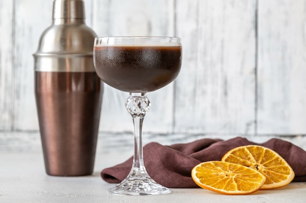 Glass of chocolate orange espresso martini cocktail