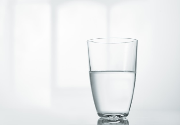 A glass of clean water on the table