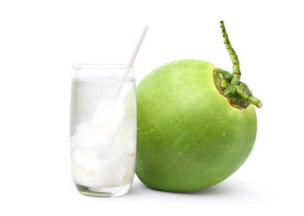 Glass of coconut juice with fresh fruit isolated on white background.