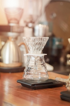 Glass at coffee maker
