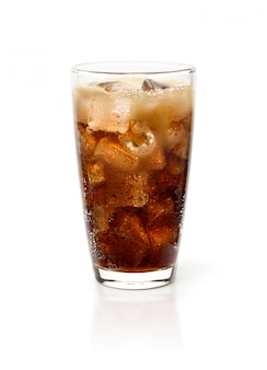 Glass of cola drink with ice isolated on white background