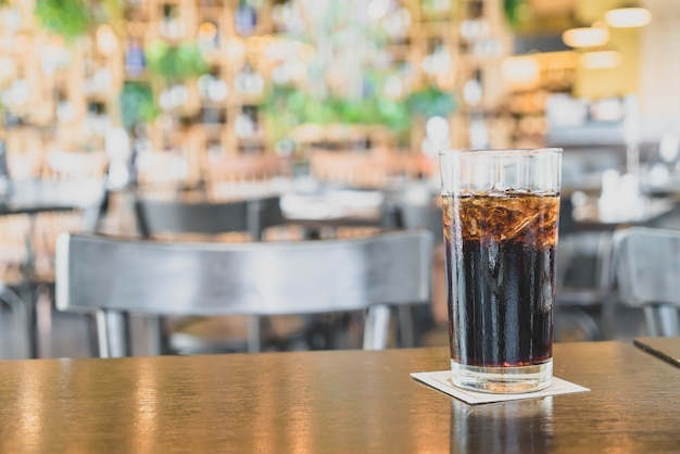 A glass of cola in restaurant