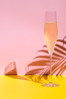 A glass of cold champagne with vapour that has coconut leaf shadow from sun light summer concept