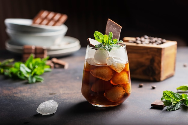 A glass of cold summer coffe