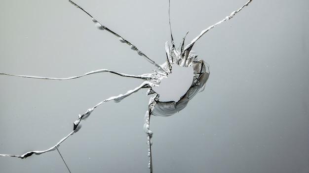 Glass crack after window destruction