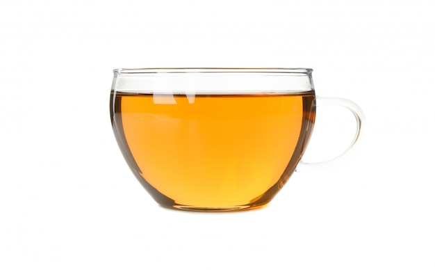 Glass cup of chamomile tea isolated on white background