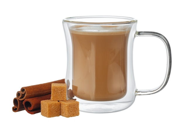 Glass cup of coffee and stack of sugar cubes isolated