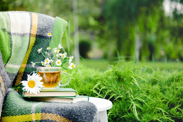 Glass cup of herbal tea with chamomile flower on books, warm green plaid on table outdoor. cozy home, nature background in garden. copy space.
