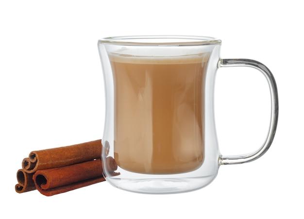 白で隔離のコーヒーのガラスカップ