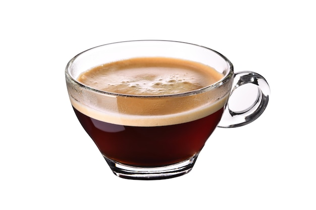 Стеклянная чашка кофе эспрессо, изолированные на белом фоне