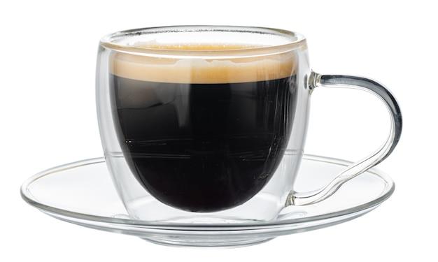 分離されたエスプレッソコーヒーのガラスカップ