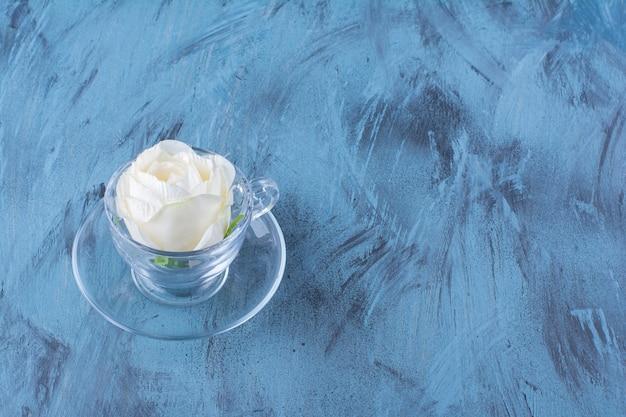 흰색 장미의 유리 컵은 파란색에 배치되었습니다.