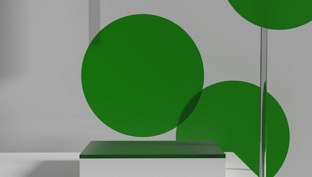 ガラスシリンダー表彰台、製品展示スタンドは緑色