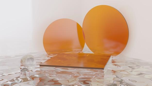 ガラスシリンダー表彰台、オレンジ色の製品展示スタンド