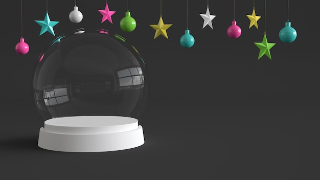 Glass dome with white tray on dark background.