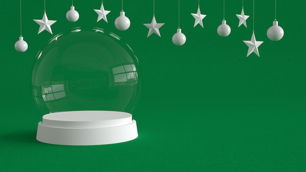 Glass dome with white tray on green canvas background.