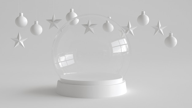Glass dome with white tray on white background.