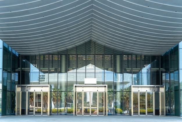 Glass door entrance and exit of modern office building