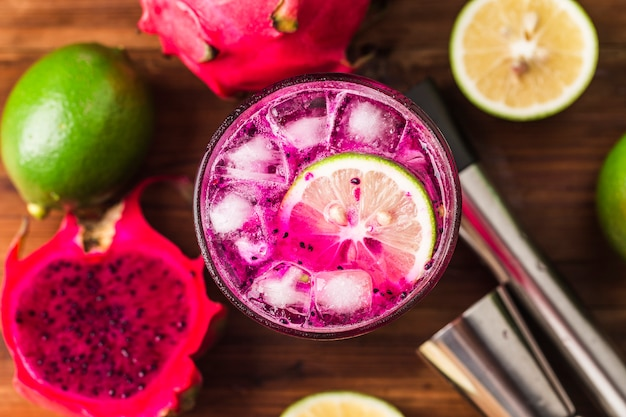 Glass of dragon fruit smoothie
