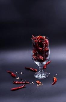 Glass of dried pepper,on black board