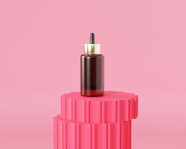 Glass dropper bottle for cosmetics advertising on red pillar podium