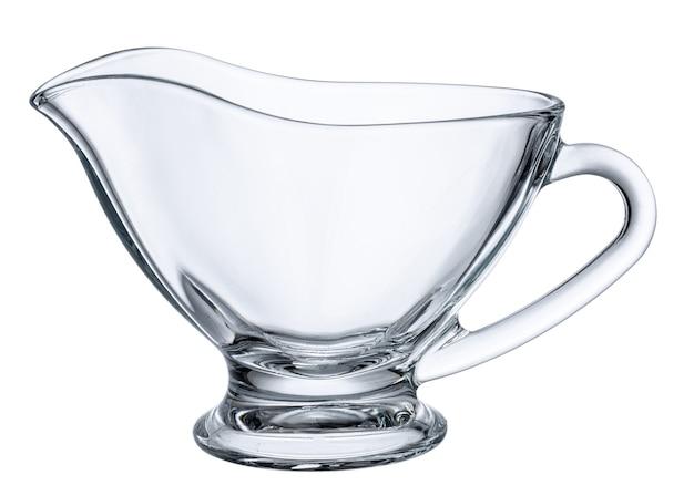 Стеклянный пустой соусник, изолированные на белом фоне