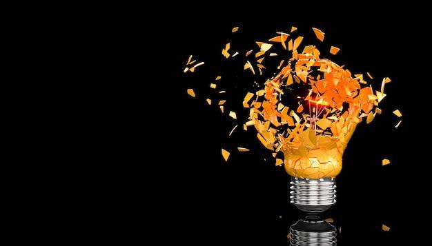 Glass explosion of a light bulb on black. 3d render.