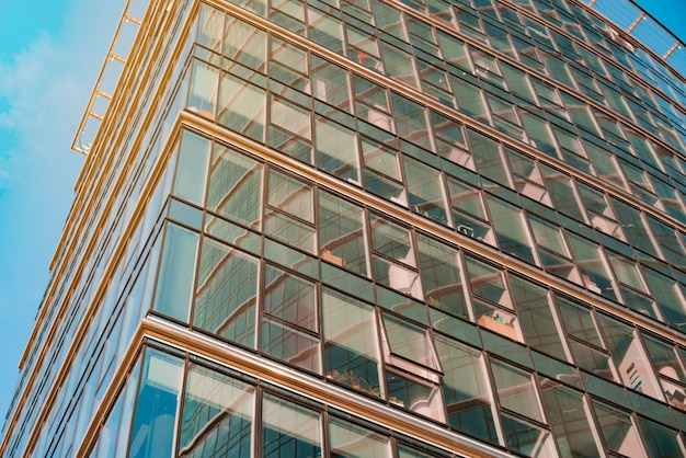 Glass facade of office tower