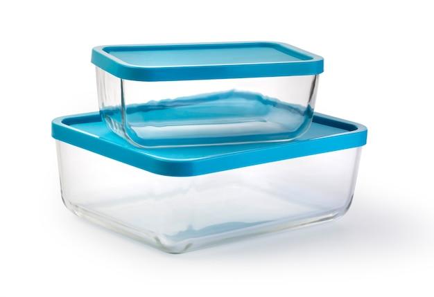 白で隔離のガラス食品容器