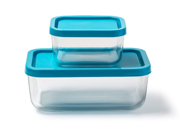 Glass food container isolated on white background with clipping path