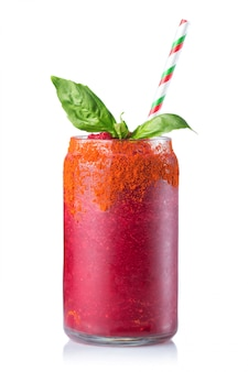 Glass of fresh beetroot juice (smoothie) isolated