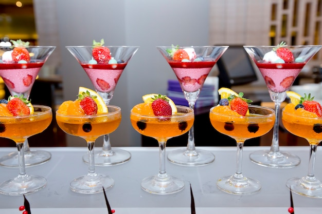Glass of fresh fruit jelly of buffet.finger food.