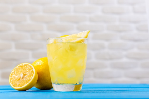 Glass of fresh lemonade juice