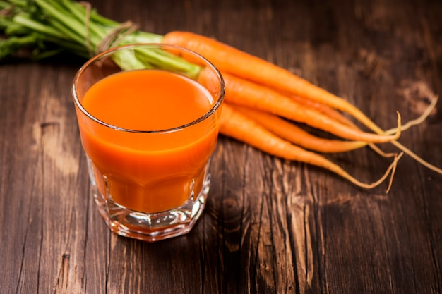 Glass of fresh-squeezed carrot juice
