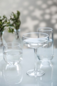 Glass glasses with fresh drinking water. copy space.
