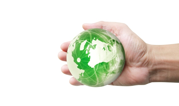 Glass globe in hand  on white