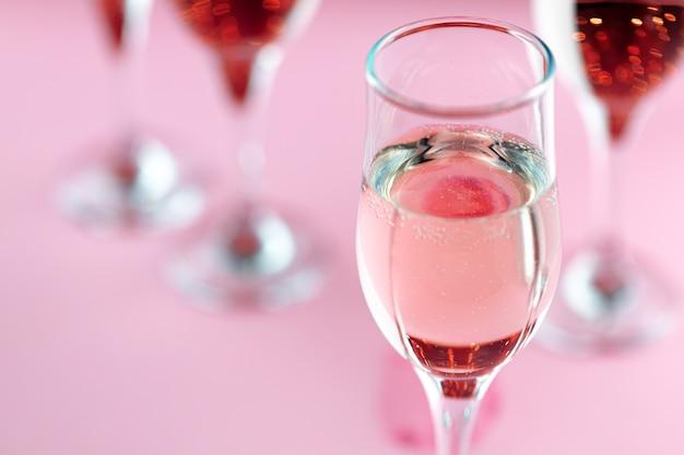Glass goblet of sparkling champagne wine