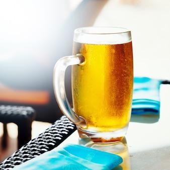 Glass of golden draft beer