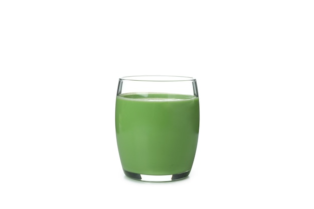 Glass of green smoothie isolated on white background